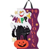 Ghost and Cat Halloween Decorative Applique Door Decor