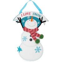 I Love Snow Winter Decorative Applique Door Decor