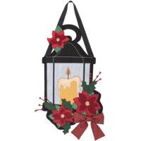 Poinsettia Lantern Christmas Decorative Applique Door Decor