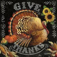 Give Thanks Turkey Thanksgiving Decorative Art Tile