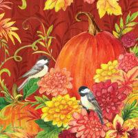 Chickadees and Pumpkins Decorative Art Tile