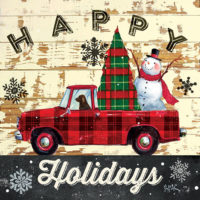 Happy Holidays Red Truck Christmas Decorative Art Tile