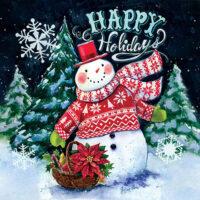 Happy Holidays Christmas Snowman Decorative Art Tile