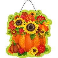 Pumpkin Floral Fall Decorative PVC Hang-Arounds Door Decor
