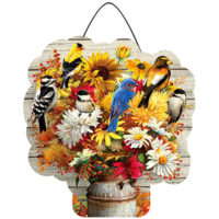 Fall Flowers and Birds Decorative PVC Hang-Arounds Door Decor