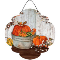 Pumpkins and Cotton Fall Decorative PVC Hang-Arounds Door Decor