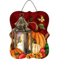 Pumpkin Lantern Fall Decorative PVC Hang-Arounds Door Decor