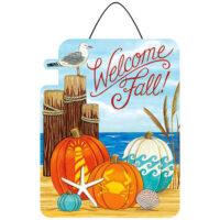 Coastal Pumpkins Fall Beach Decorative PVC Hang-Arounds Door Decor