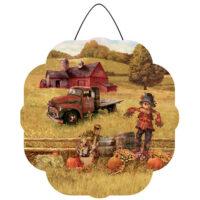 Scarecrow and Truck Fall Decorative PVC Hang-Arounds Door Decor