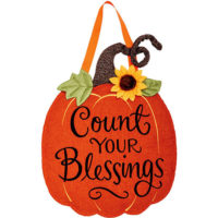 Count Your Blessings Pumpkin Thanksgiving Decorative Applique Door Decor