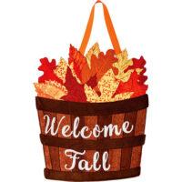 Welcome Fall Leaf Basket Decorative Applique Door Decor