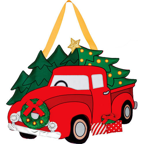 christmas truck applique door decor sale