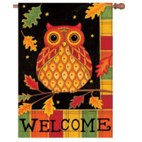 Welcome Owl Fall Reversible Decorative House Flag