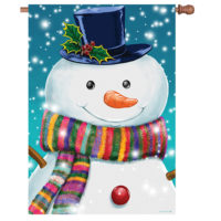 Rainbow Scarf Snowman Winter Decorative House Flag