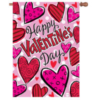 Happy Hearts Valentine's Reversible Decorative House Flag