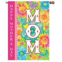 Mom Mother's Day Floral Reversible Decorative House Flag