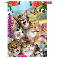 Cat Selfie Decorative House Flag