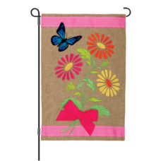 Daisies and Butterfly Floral Fade-Resistant Reversible Burlap Garden Flag