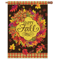 Fall Wreath Reversible Decorative House Flag