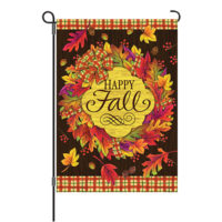Fall Wreath Reversible Decorative Garden Flag