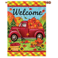Red Fall Truck Reversible Decorative House Flag