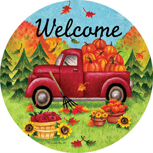 Red Fall Truck Decorative Accent Magnet