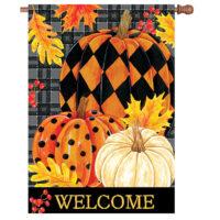 Painted Pumpkins Fall Reversible Decorative House Flag