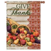 Cornucopia Thanksgiving Reversible Decorative House Flag