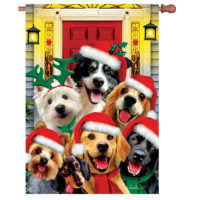 Christmas Dogs Decorative House Flag