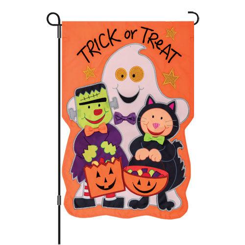 Trick Or Treat Halloween Decorative Applique Reversible Garden Flag
