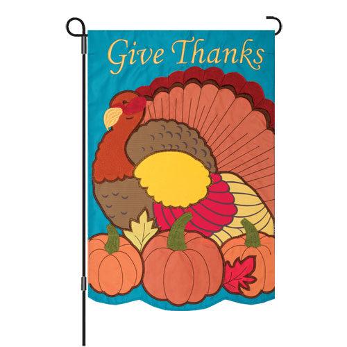 Give Thanks Turkey Thanksgiving Decorative Applique Reversible Garden Flag