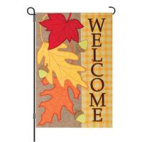 Fall Welcome Burlap Reversible Decorative Garden Flag
