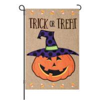 Trick Or Treat Jack Halloween Burlap Reversible Decorative Garden Flag