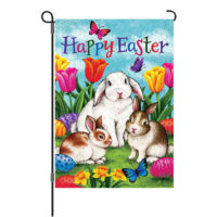 Three Bunnies Easter Reversible Decorative Garden Flag