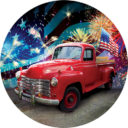 Patriotic Red Truck 6 Inch Decorative Accent Magnet