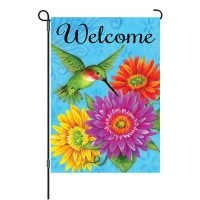 Hummingbird Gerberas Reversible Decorative Garden Flag