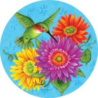 Hummingbird Gerberas Decorative Accent Magnet