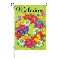 Daisy Wreath Reversible Decorative Garden Flag
