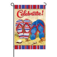 Celebrate Patriotic Flip Flops Reversible Decorative Garden Flag