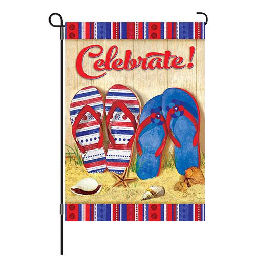 Celebrate Patriotic Flip Flops Reversible Decorative Garden Flag