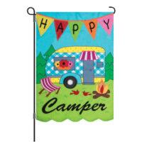 Happy Camper Decorative Applique Reversible Garden Flag
