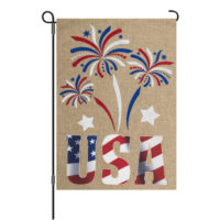 USA Fireworks Patriotic Burlap Reversible Decorative Garden Flag