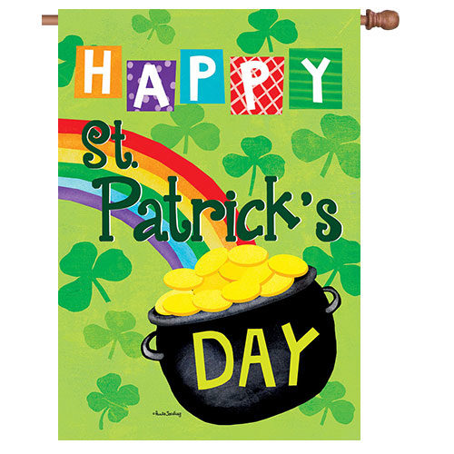 Pot Of Gold St. Patrick's Day Reversible Decorative House Flag