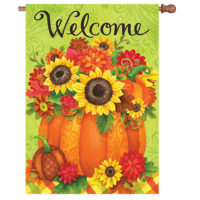 Pumpkin Floral Fall Reversible Decorative House Flag