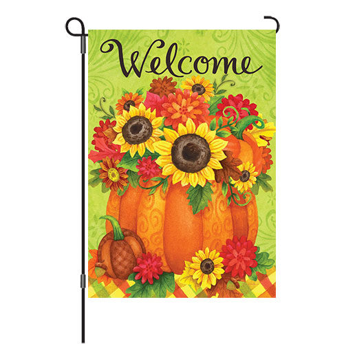 Pumpkin Floral Fall Reversible Decorative Garden Flag