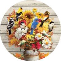 Fall Flowers And Birds Decorative Accent Magnet