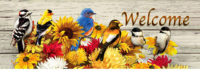 Fall Flowers And Birds Decorative Signature Sign