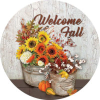 Sunflowers And Cotton Fall Decorative Accent Magnet