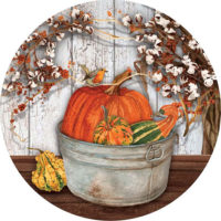 Pumpkins And Cotton Fall Decorative Accent Magnet