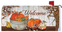 Pumpkins And Cotton Fall Decorative Mailbox Makeover